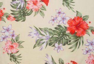 tissu-beige-fleurs-vintage-hawai-